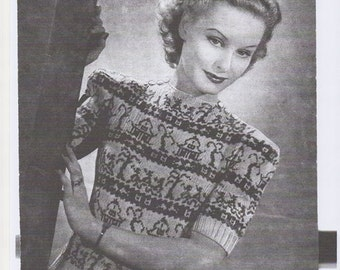 Ladies Fair Isle Sweater, Willow Pattern Sweater, Ladies Jumper, Vintage Sweater Pattern, 1930s Sweater. Knitting pattern only.