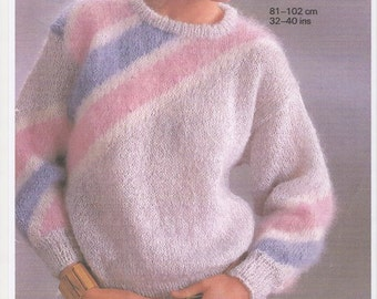 Ladies Mohair Sweater, Vintage Mohair Sweater, Mohair Knitting Pattern. 32-38inch bust pattern. Knitting pattern only.