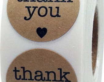 "500 Round Natural Kraft Thank You Stickers with Black Print | 1"" Inch Circle Stickers 