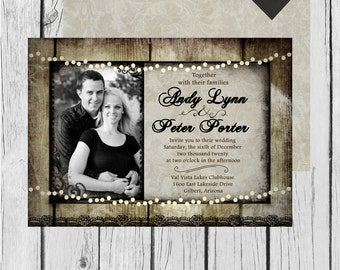 Rustic, Wood, Vintage, Frame, Lights, Picture-Wedding Invitation / Bridal Shower / Baby Shower / Birthday - Digital and Printable Invitation