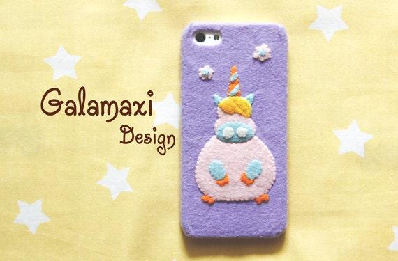 Handmade Felt Unicorn iPhone 6S Case, Cute Unicorn Samsung Galaxy S6 Edge Case, Unicorn iPhone 6 Case, Custom Phone Case