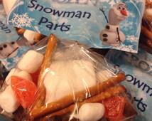 FROZEN Party Goodie Bag Topper - Snowman Parts - 4 Per Page PDF Download