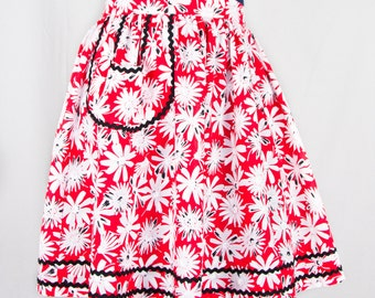 Red Floral Half Apron (Women's)