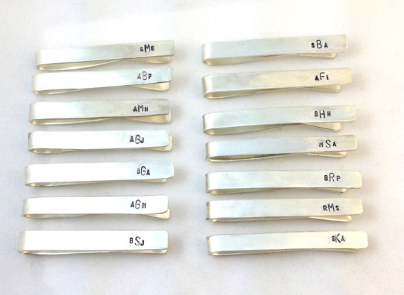 Personalized Tie Bar- Sterling silver tie bar with monogram/ groomsmen gift personalized