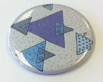 Blue Geometric Triangles - Pocket Mirror