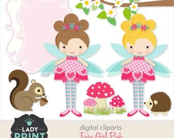 Little Cute Pink Fairy Girl Printable Digital Cliparts. For Personal and Small Commercial Use.