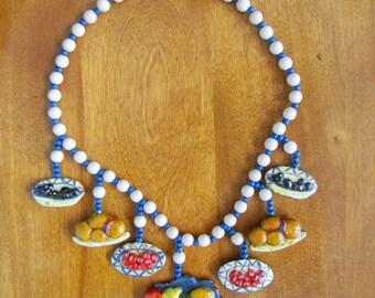 "Handmade/Vintage Papier Mache ""Fruit Basket"" Necklace"