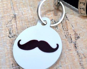 Mustache Pet ID Tag - Dog Tag, Leash Tag, Pet Identification, Key Chain