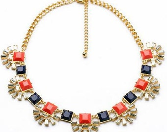 Gold Coral and Blue Statement Necklace