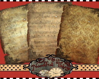 Vintage steampunk old paper pack 8x11 inch grunge digital file sheet perfect for invitation, scrapbooking  OP1