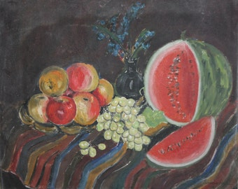 1969 European Still life with fruits oil painting