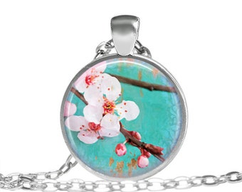 FREE SHIPPING Pink Berry Blossom Tree Jewelry Necklace, Japanese Blossom Spring Summer Tree Necklace, Kawaii Necklace, Pink Flower Tree Neck