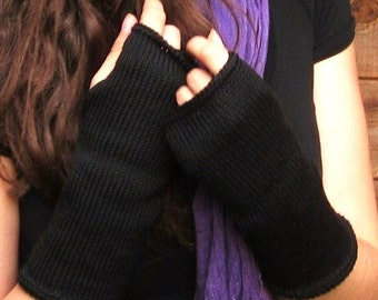 black knit handwarmers, MERINO fingerless gloves, armwarmers, mittens, knitted wristwarmer,cuffs