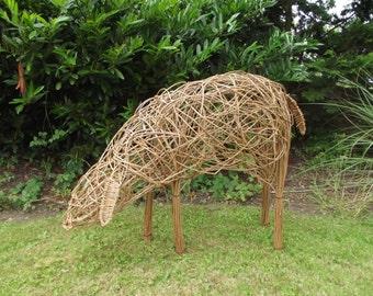 Natural Willow Weaved Grazing Sheep.  Garden Ornament, Free Standing, Sculpture