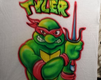 Custom Airbrush tee shirt Turtle T Shirt Freehand, not a stencil
