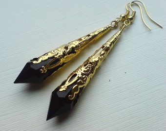 Gold Earrings , Black Earrings , Black Teardrop Earrings , Gold Faceted Teardrop Earrings , Filigree Earrings ,  Long Earrings