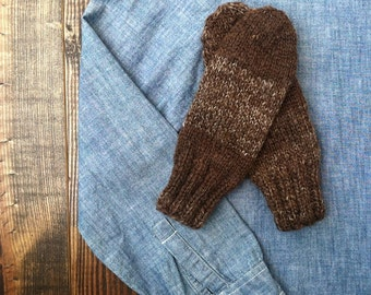 15% OFF! Women's Hand Knit Brown Marled Mittens - S/M