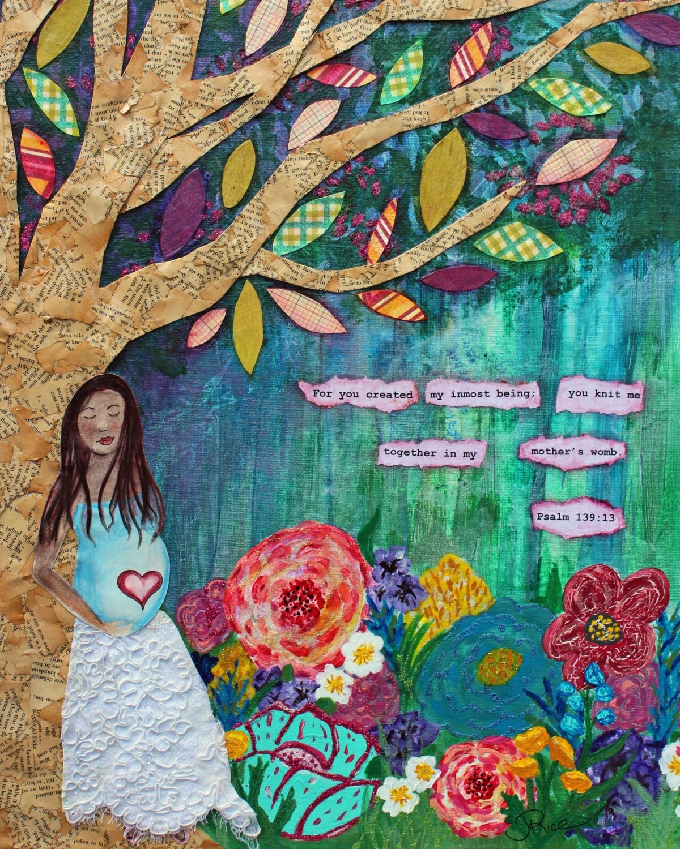 Midwife Art Psalm 139 Maternity Art Pregnancy Art