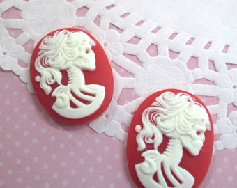 30x40mm Red Skeleton Cameo Cabochons, Day of the Dead, Lady Cameos