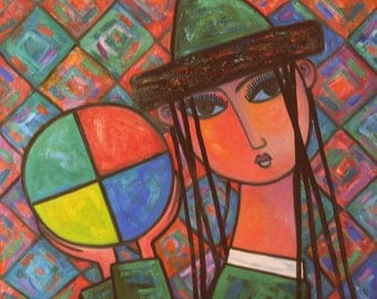 "Original Abstract painting""Girl with ball"" from artist N.Jholbunov."