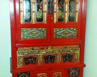 "Antique Chinese 38"" Wide 78"" Tall Red Lacquer Wedding Armoire Liquer Linen Cabinet"