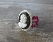 Black and White Cameo Styled Ring on Adjustable Hot Pink Filigree Base