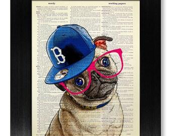 PUG Art Print, Pug PRINT, Pug Decor, Pug Wall Art, Pug Painting, Pug Poster, Pug Illustration Pug Drawing, DOG Artwork Room Decor, Nerdy Pug