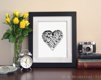 My Textured Heart Love Art Print 8x10 inches Black & White Marriage Wedding Romance Home Decor