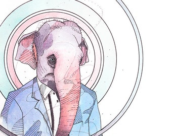 Business Elephant- Limited Edition Fine Art Print 8x10.
