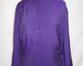 Vintage blouse shirt 80's purple UK 10 12 Small medium