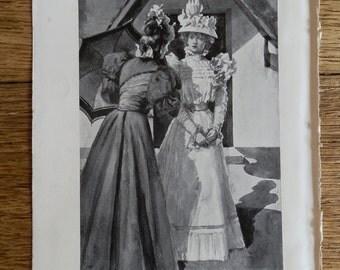 Antique Print Victorian Ladies by G Demain Hammond 1897