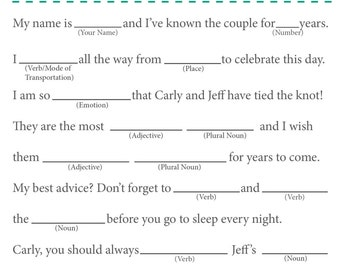 Wedding Mad Libs Wedding Guest Book (Can also be used for a Bridal Shower, Birthday, Anniversary, etc.)