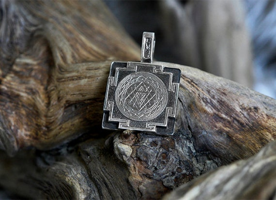 Sri yantra pendant sterling silver made to order sri yantra like this item mozeypictures Images