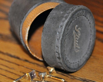 Genuine Vintage 1950s Leather Stud Box  -- Free Shipping!