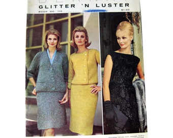 Bernat Glitter N Luster Knitting Patterns / 1960s Fashion/ Needlecraft / Craft Book / Pattern Book / Knitting Patterns