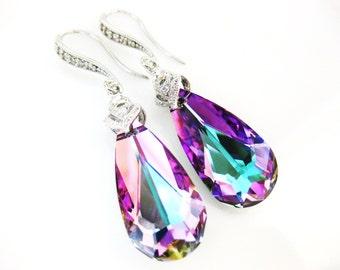 Swarovski Crystal Vitrail Light Teardrop Earrings Purple Crystal Earrings Bridesmaid Gift Wedding Jewelry Bridal Drop Earrings (E025)