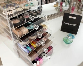 Acrylic Makeup Organizer Clear Cube W Drawers Organizer Mugeek - Acrylic cube makeup organizer with drawers
