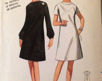Butterick 4483 - 1960s Era Cowl Neck A Line Dress with Diagonal Seaming Detain - Size 10