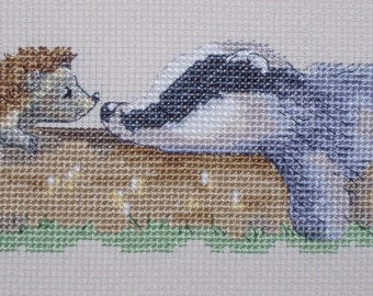 KL124 Snoozing Badger (and hedgehog) Counted Cross Stitch Kit