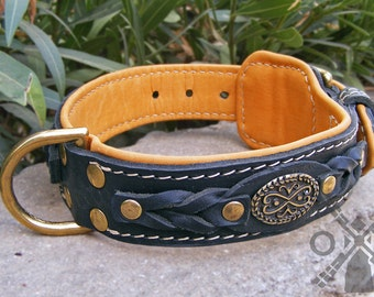 Nappa Padded Leather Dog Collar with Attractive Braids for Large Dog Breeds (model OldMill-C43)