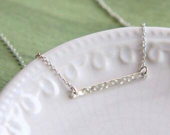 Skinny Bar Necklace, Hammered Bar Necklace, Sterling Silver Bar Necklace, Bar Necklace, Mini Bar Necklace, Simple necklace, Dainty Necklace