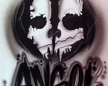 Personalized Custom Airbrushed Call of Duty Ghosts Inspired T-Shirt, Airbrushed Ghosts Tshirt