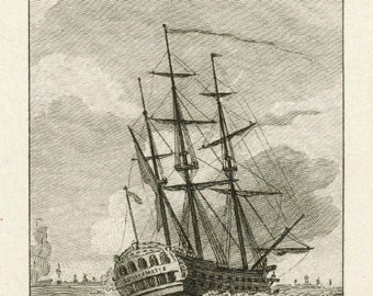 Vintage 1781 Sailing Ship Dutch Etching Print Reproduction