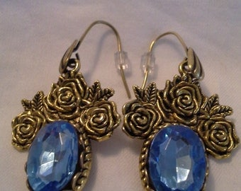 Antique Gold Brass Roses and  BLue Crystals = E 140
