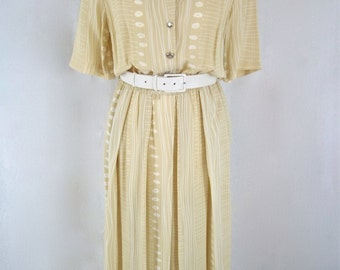 Vintage 1980's - 'Mandy Marsh' White and Beige Print Belted Day Dress - UK Size 10
