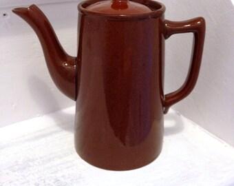 Retro vintage brown ceramic coffee pot