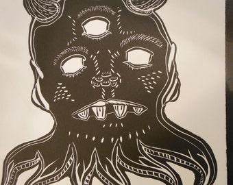 Horned Three-eyed Octopus Alien Linoleum Block Print