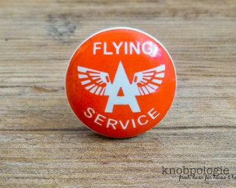 "1.5"" Retro Red and White Flying Ace Knob - Flying Service - Aviation Aviator Drawer Pull - Baby Boy Nursery - Ceramic Decorative Knobs"