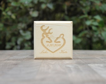 engraved buck and doe heart wedding ring box- valentines gift