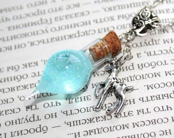 Snape's Tears Memories Glass Bottle Vial, Doe Patronus Necklace. Harry Potter